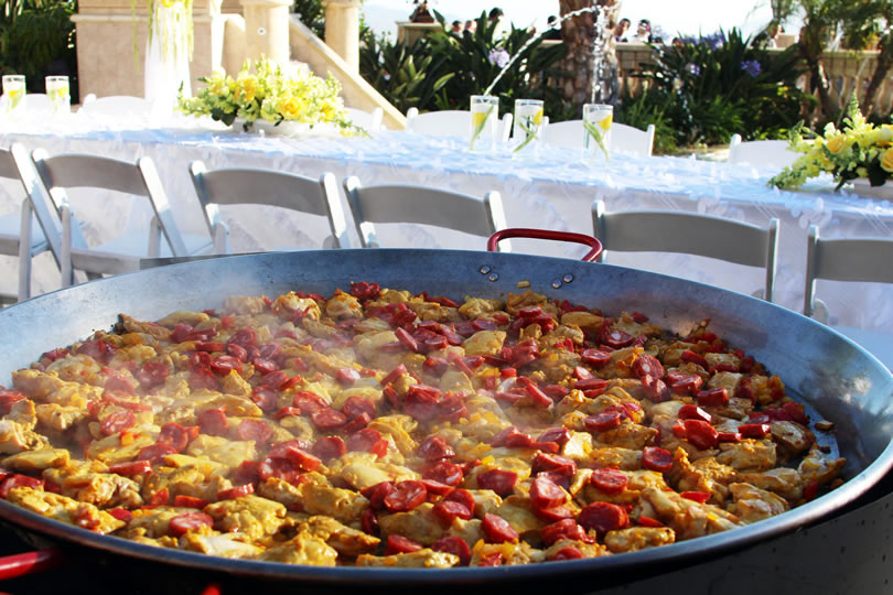 Ingredients in paella Simmering