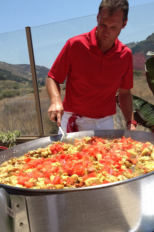 Cooking Paella outdoors